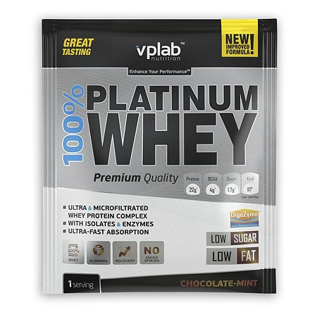 Протеин VPLAB Platinum Whey 100% шоколад-мята 30г
