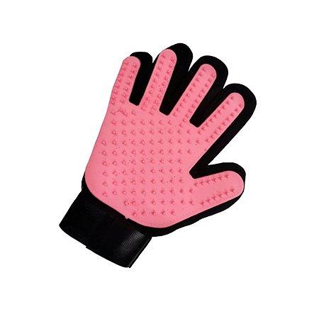 Перчатка для груминга Stefan массажная для вычесывания шерсти животных розовая 23х17см Stefan