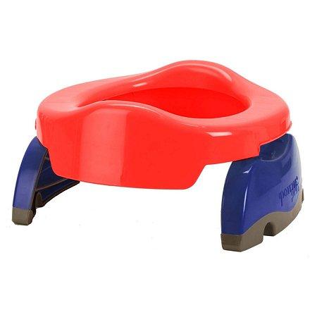 Дорожный горшок Potette Plus складной + одноразовый пакет Красный-голубой