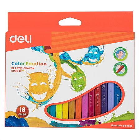 Мелки восковые Deli 18цветов 410952