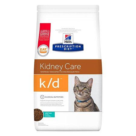 Корм для кошек HILLS Prescription Diet k/d Kidney Care для здоровья почек с тунцом сухой 1.5кг