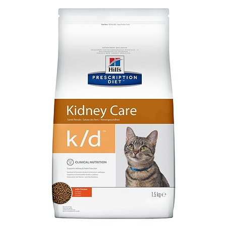 Корм для кошек HILLS Prescription Diet k/d Kidney Care для здоровья почек с курицей сухой 1.5кг