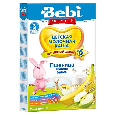 Каша Bebi Premium молочная пшеница яблоко-банан 250г 6месяцев