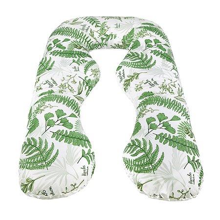 Подушка для беременных AMARO BABY Mild Design Edition Зеленые листья анатомическая Белый-Зеленый
