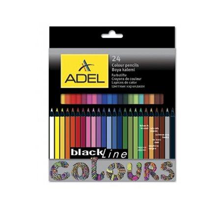 Карандаши цветные Adel Blackline-PB 3 мм черное дерево корпус цветной 24 цвета