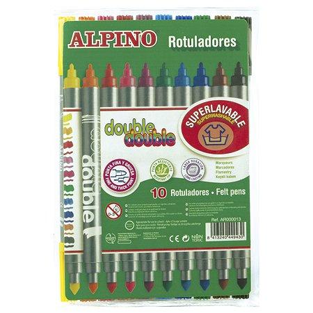 Фломастеры ALPINO Double Double двухсторонние с серебристым корпусом 10 цв.