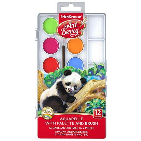 Краски акварельные Erich Krause ArtBerry 12 цветов с УФ защитой яркости с палитрой и кистью