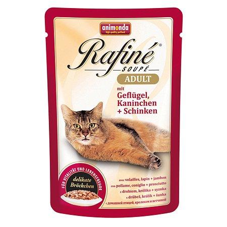 Корм влажный для кошек ANIMONDA Rafinе Adult 100г с домашней птицей кроликом и ветчиной пауч