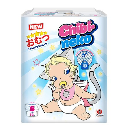 Подгузники Maneki Chibi-neko S 4-8кг 72шт