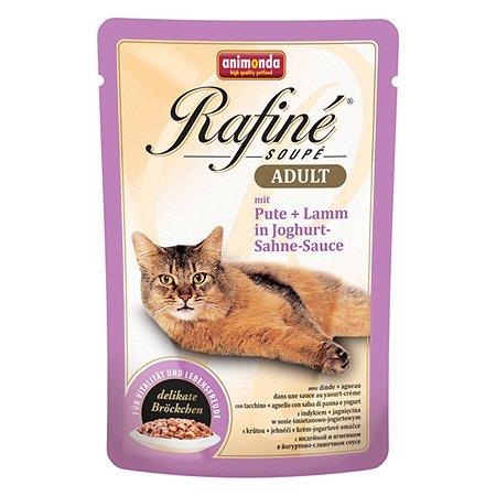 Корм влажный для кошек ANIMONDA Rafinе Adult 100г с говядиной и ягненком в йогуртово-сливочном соусе пауч