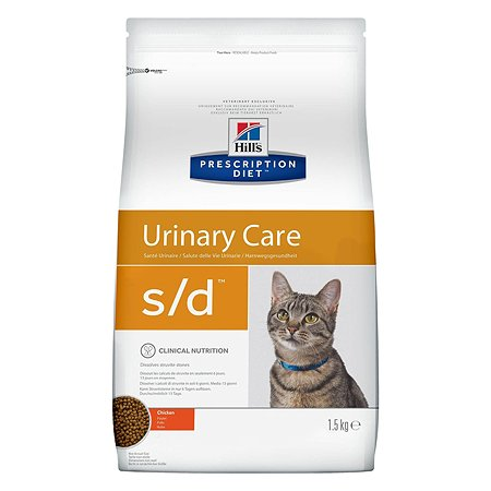 Корм для кошек HILLS Prescription Diet s/d Urinary Care для МКБ с курицей сухой 1.5кг