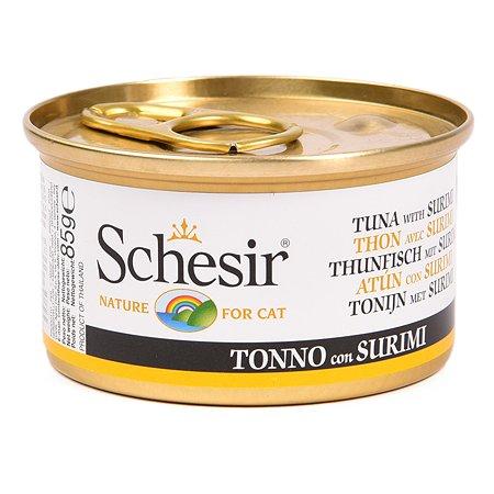Корм влажный для кошек Schesir 85г тунец с сурими