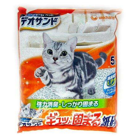 Наполнитель для кошек Unicharm бумажный дезодорирующий без запаха 5л
