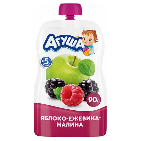 Пюре Агуша яблоко-ежевика-малина  для детей с 6 месяцев 90гр