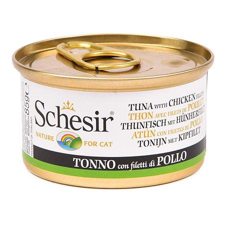Корм влажный для кошек Schesir 85г тунец с куриным филе