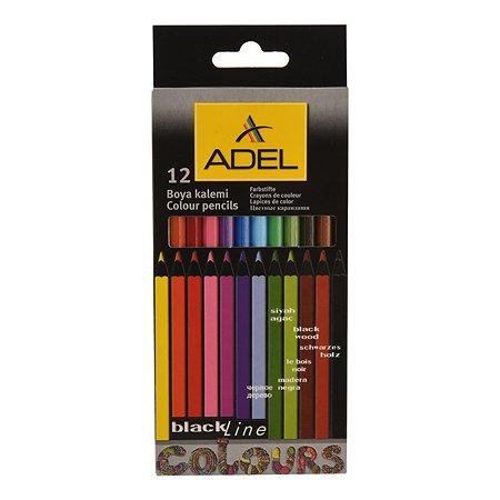 Карандаши цветные Adel Blackline-PB 3 мм черное дерево корпус цветной 12 цветов