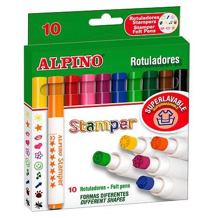 Фломастеры ALPINO Stamper со штампами с утолщенным корпусом 10 цв.