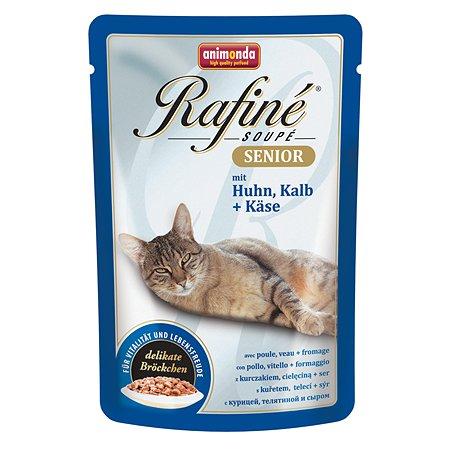 Корм влажный для кошек ANIMONDA Rafinе Senior 100г с курицей телятиной и сыром для пожилых