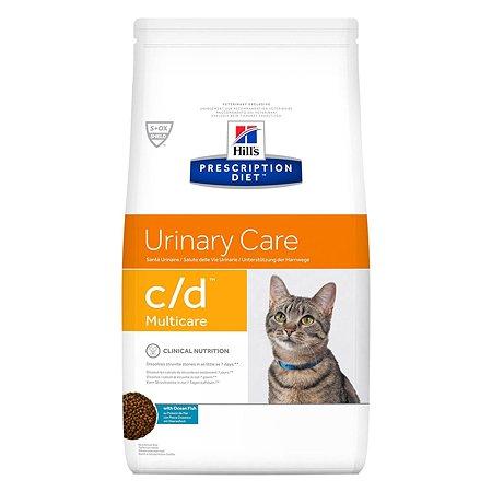 Корм для кошек HILLS Prescription Diet c/d Multicare Urinary Care для МКБ с океанической рыбой сухой 1.5кг