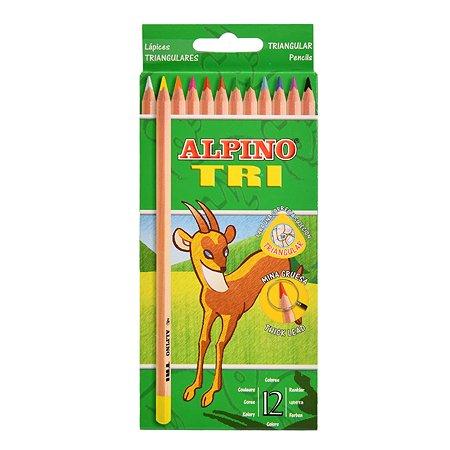 Карандаши цветные ALPINO трехгранные Tri 12цветов AL000128