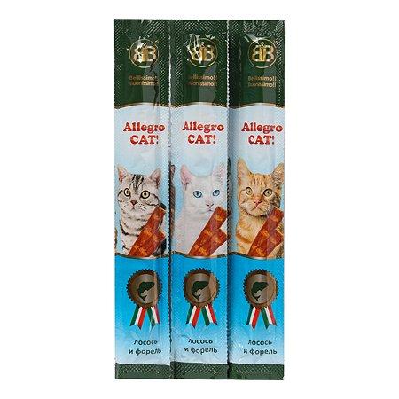 Лакомство для кошек BB Allegro Cat колбаски с лососем и форелью 60шт