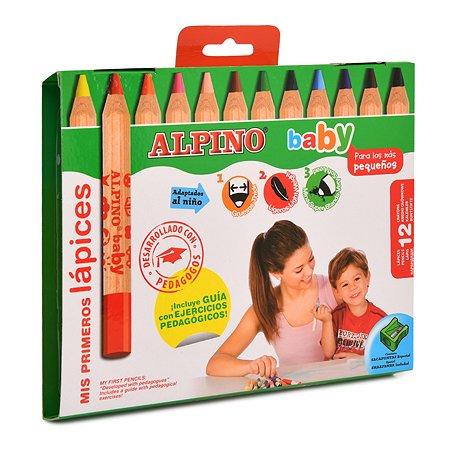Карандаши цветные ALPINO Baby 12цветов + точилка AL000177
