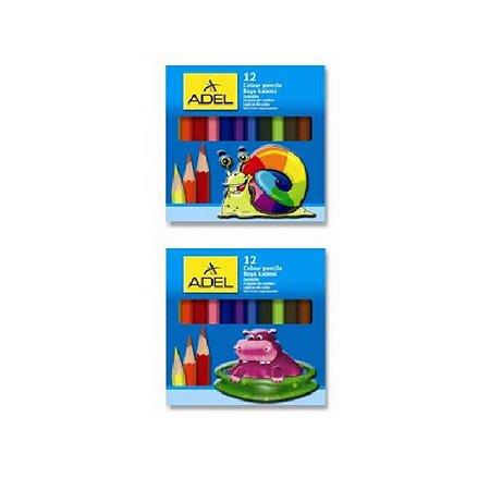 Карандаши цветные Adel Colour 28 мм 12 цветов короткие