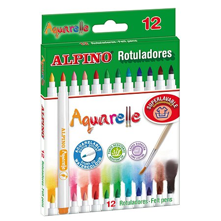 Фломастеры ALPINO Aquarelle 12 цв. + кисточка