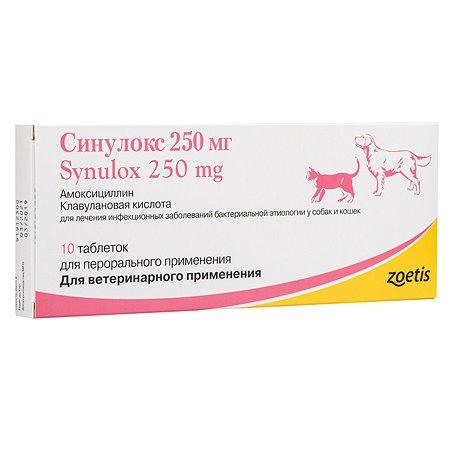 Антибиотик для собак Zoetis Синулокс 250мг №10 таблетки