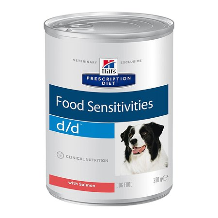 Корм для собак HILLS Prescription Diet d/d Food Sensitivities для кожи при пищевой аллергии с лососем консервированный 370г