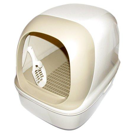 Туалет для кошек Kao закрытый с лопаткой наполнителем подстилкой Бежевый