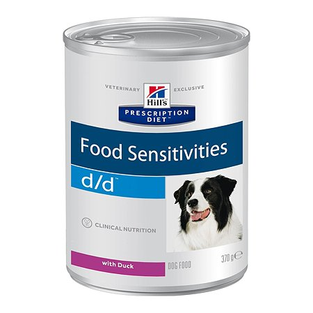 Корм для собак HILLS Prescription Diet d/d Food Sensitivities для кожи при пищевой аллергии с уткой консервированный 370г