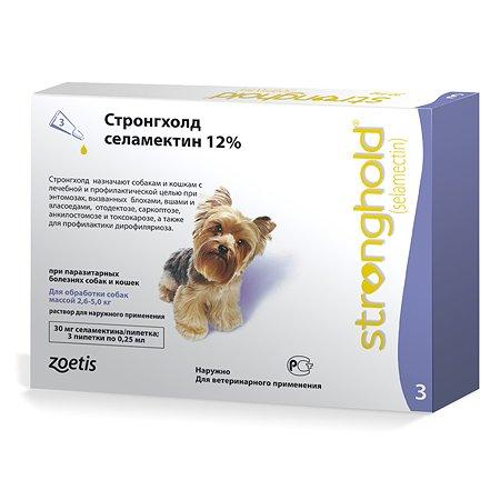 Препарат инсектоакарицидный для собак Zoetis Стронгхолд 30мг 12% 0.25мл №3 пипетка