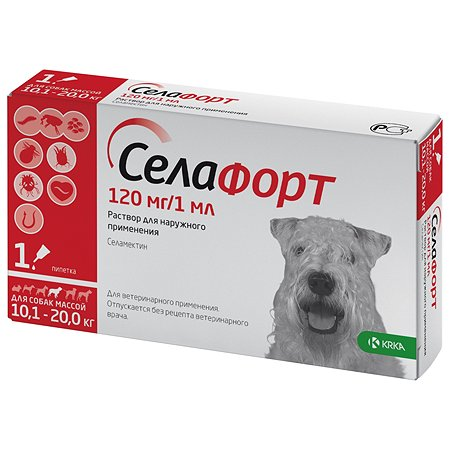 Препарат инсектоакарицидный для собак KRKA Селафорт 120мг 1мл