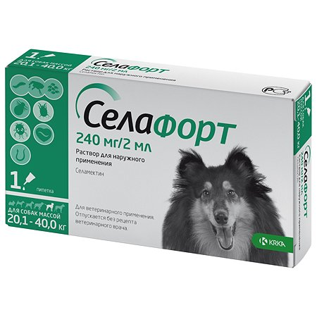 Препарат инсектоакарицидный для собак KRKA Селафорт 240мг 2мл