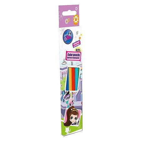 Набор цветных карандашей Kinderline 6цв Littlest Pet Shop
