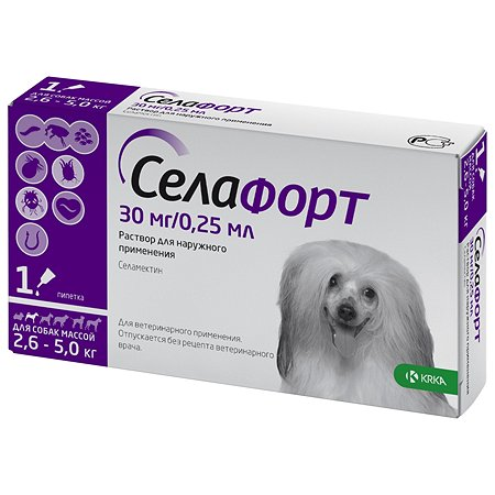 Препарат инсектоакарицидный для собак KRKA Селафорт 30мг 0.25мл