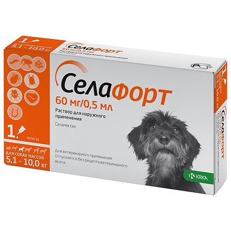 Препарат инсектоакарицидный для собак KRKA Селафорт 60мг 0.5мл