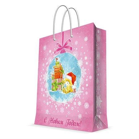 Пакет бумажный Magic Time Мишка с подарками розовый