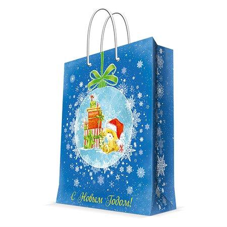 Пакет бумажный Magic Time Мишка с подарками синий