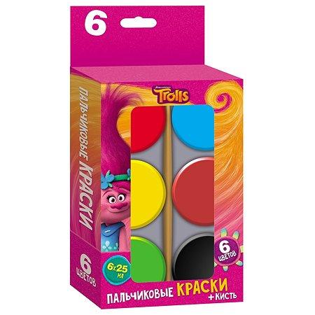 Краски пальчиковые DreamWorks TROLLS 6 цветов 25 мл + кисть