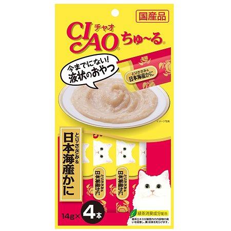 Лакомство для кошек INABA Ciao японский глубоководный краб-парное филе курицы соус 56г