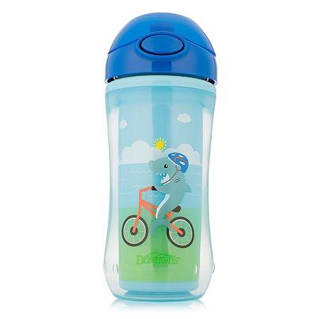 Чашка-термос Dr Brown's с трубочкой 300мл Акула на велосипеде