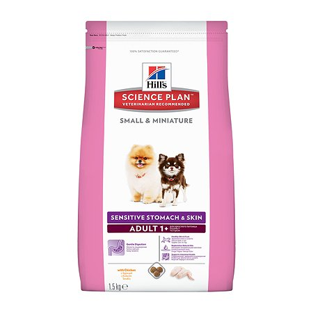 Корм для собак HILLS Science Plan Sensitive Skin/Stomach для мелких и миниатюрных пород для ЖКТ/кожи/шерсти с курицей сухой 1.5кг