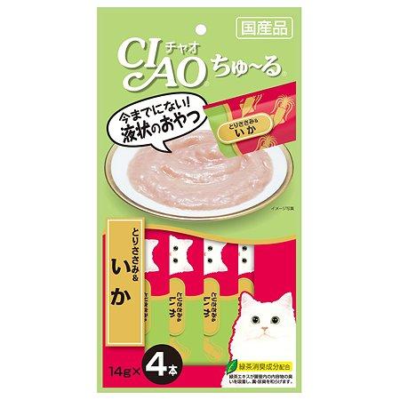 Лакомство для кошек INABA Ciao кальмар-парное филе курицы соус 56г
