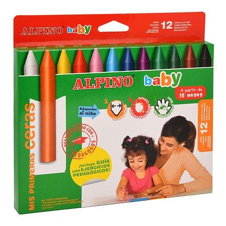 Карандаши восковые ALPINO 12цветов DA000060