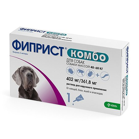 Препарат инсектоакарицидный для собак KRKA Фиприст Комбо 4.02мл №1 пипетка
