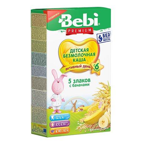 Каша безмолочная Bebi Premium 5злаков с бананами 200г с 6месяцев