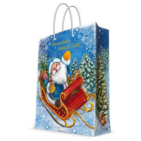 Пакет бумажный Magic Time Дед Мороз на санях
