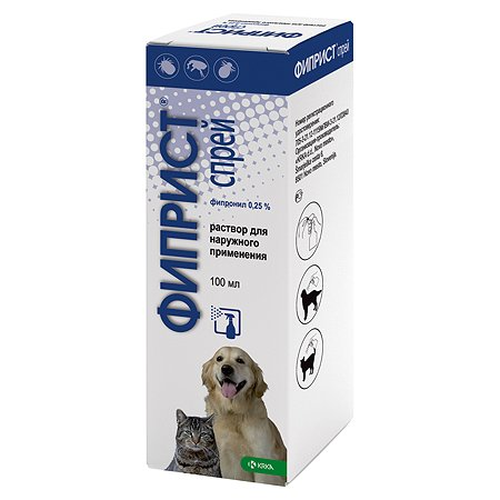 Препарат инсектоакарицидный для собак и кошек KRKA Фиприст 0.25% 100мл спрей